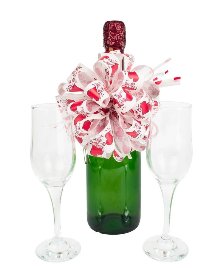 Champagne et glaces de vin photographie stock