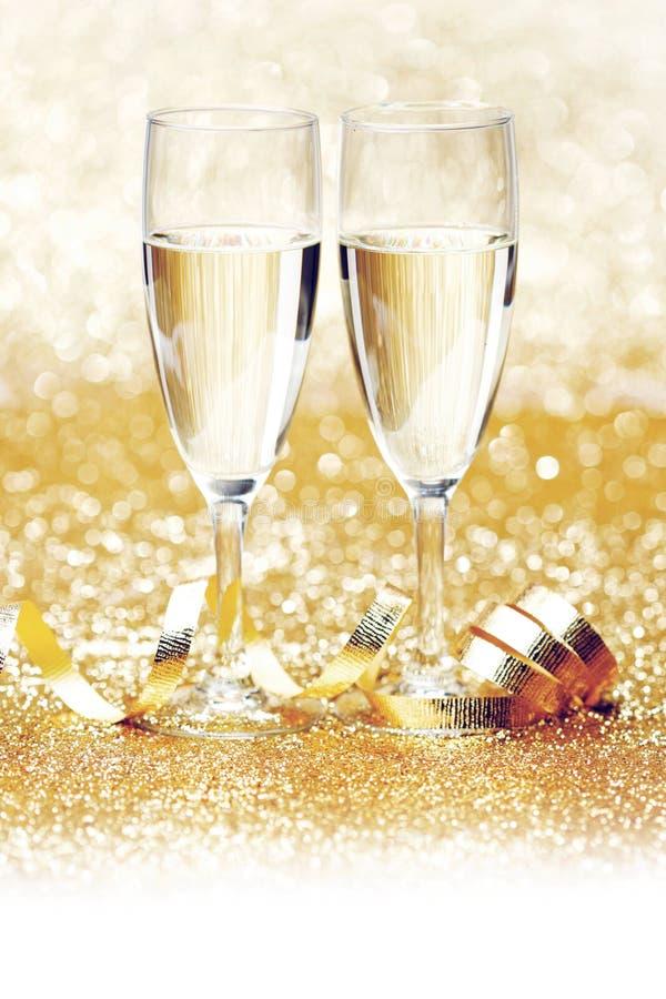 Champagne et ruban photos stock