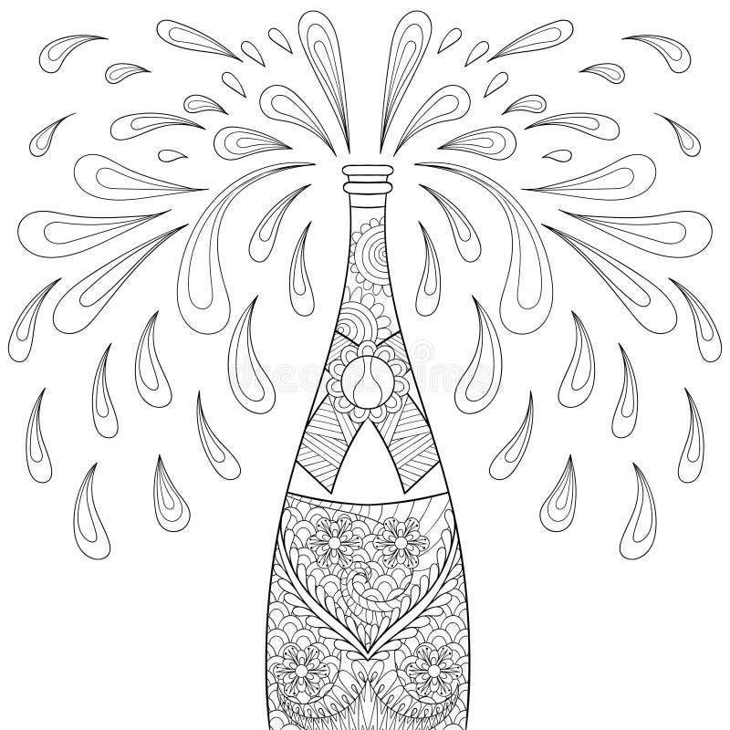 Champagne-explosiefles, zentangle stijl Schets uit de vrije hand vector illustratie
