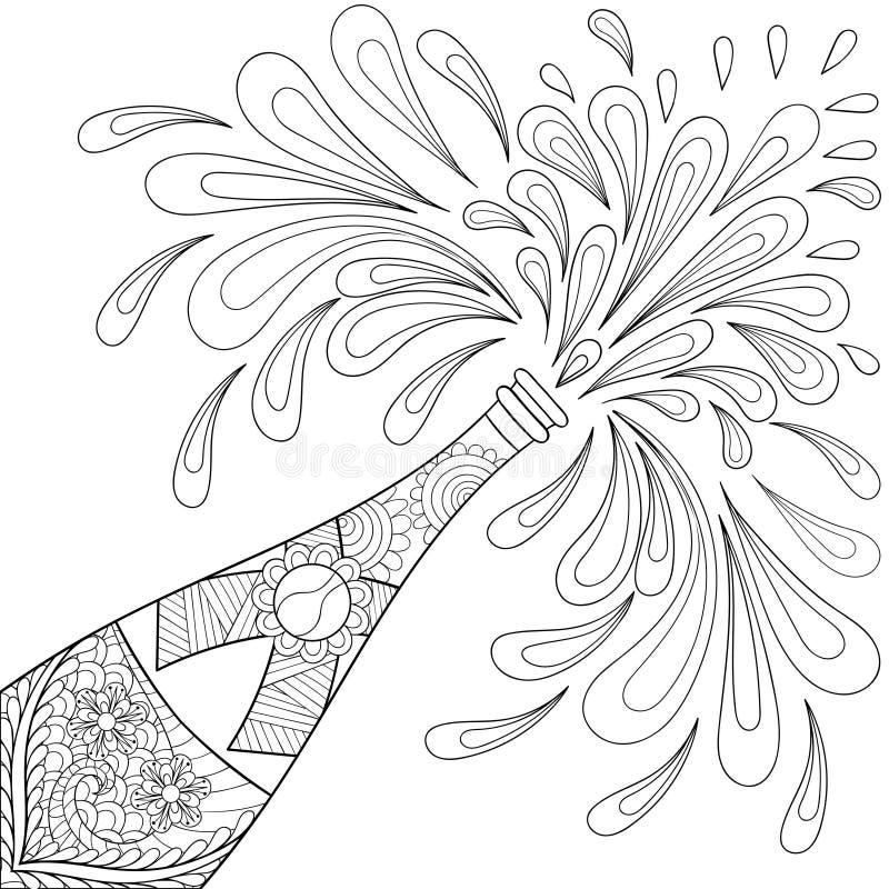 Champagne-explosiefles, zentangle stijl Schets uit de vrije hand voor stock illustratie