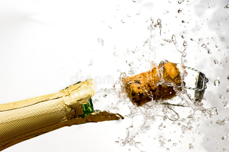 Champagne explosion. Close-up of explosion of champagne bottle cork