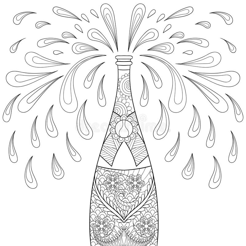 Champagne explosion bottle, zentangle style. Freehand sketch. For adult coloring page, greeting Happy 2017 New Year, poster. Ornamental artistic vector vector illustration