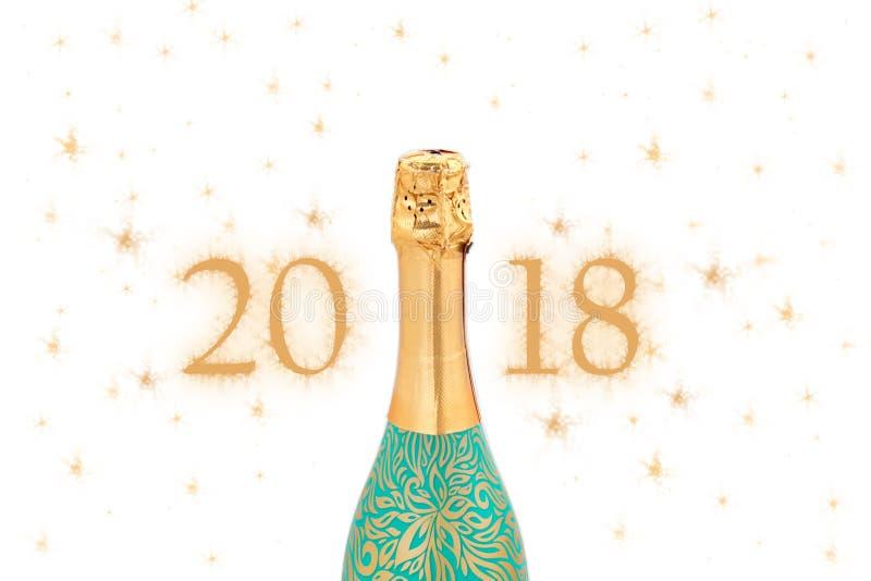 Champagne Explosion - conceito 2018 do ano novo da celebração imagens de stock royalty free
