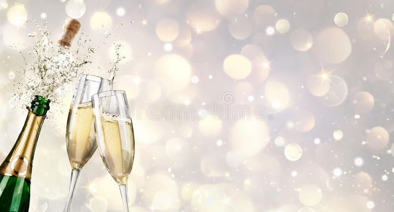 Champagne Explosion With Toast Of-Fluiten royalty-vrije illustratie