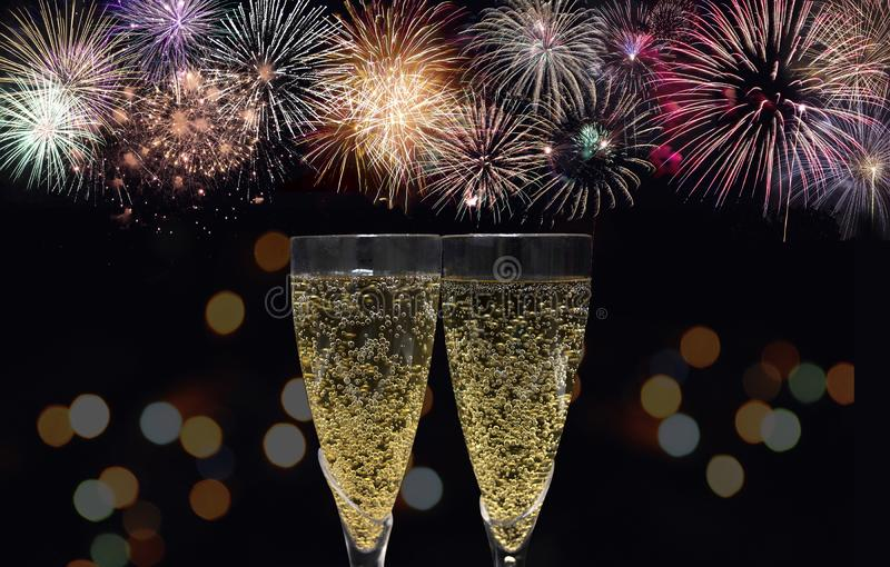 Champagne And Fireworks Celebration royalty free stock photo