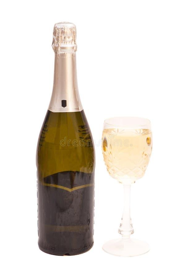Champagne-fles en champagneglas royalty-vrije stock foto