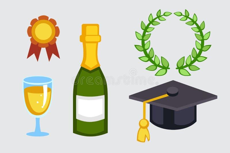 Champagne-fles en de vectorillustratie van de graduatiehoed Van het het glas nieuwe jaar van de vakantie de gouden wijn van de de royalty-vrije illustratie