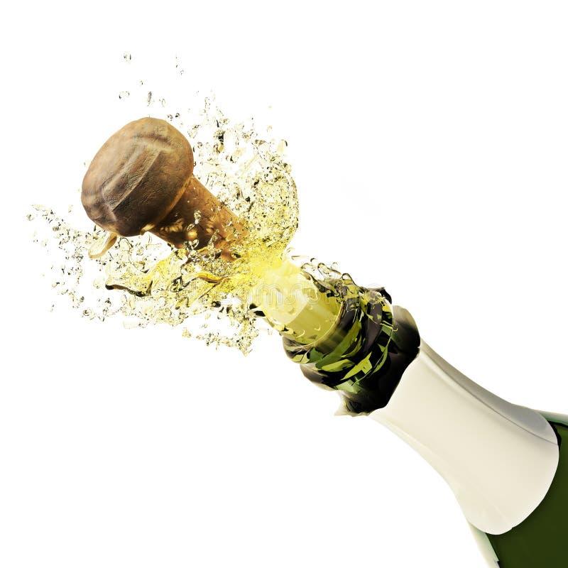 Champagne-fles het knallen vector illustratie