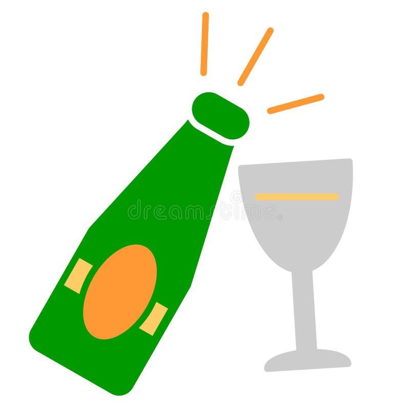 Champagne-fles met glas kleurrijk pictogram op witte achtergrond stock illustratie