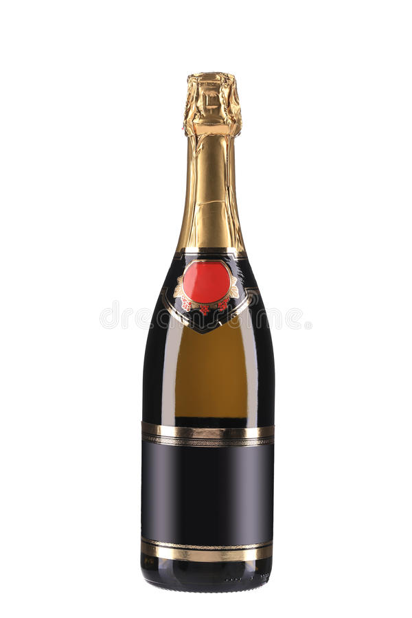 Champagne-fles met gouden bovenkant. royalty-vrije stock foto's