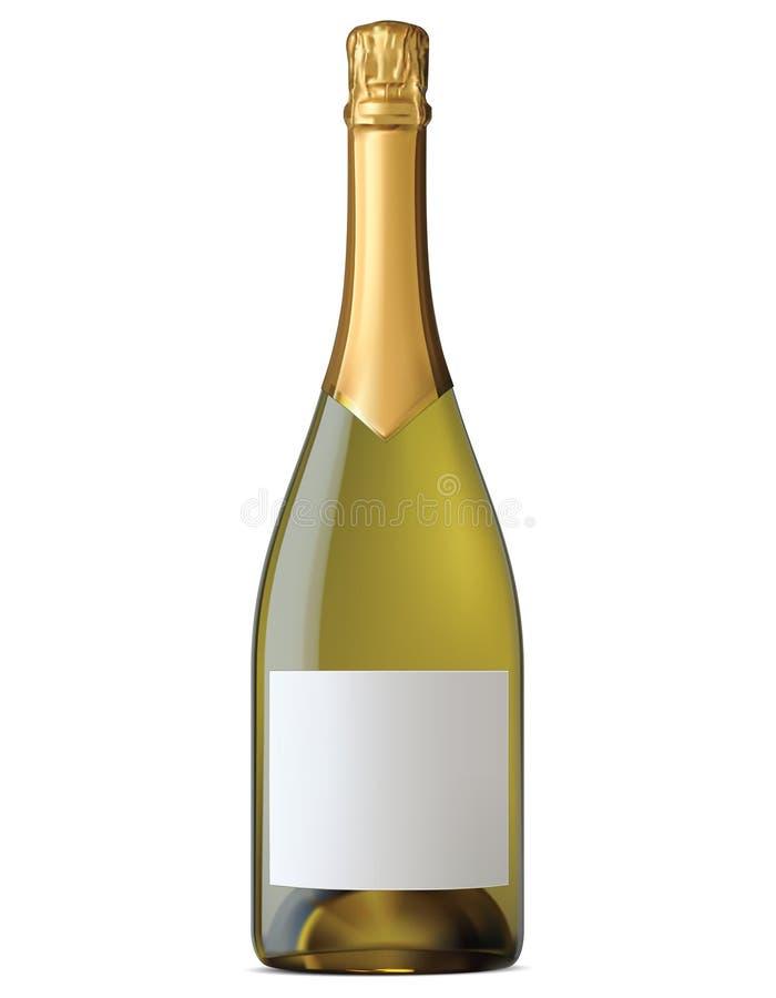 Champagne-fles met gouden die folie op wit wordt geïsoleerd vector illustratie