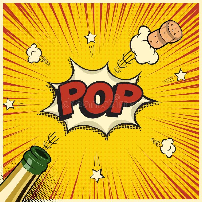 Champagne-fles met vliegende cork en Pop woord Vectorvakantieelement in grappige boek of mangastijl stock illustratie