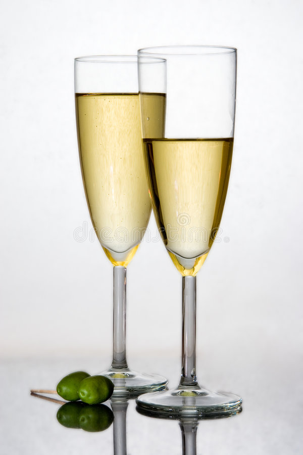 Champagne in a flute royalty free stock photography