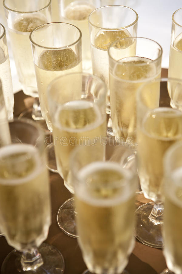 Champagne flutes. Many filled Champagne flutes on a tray ready to be served during a wedding celebration stock photo