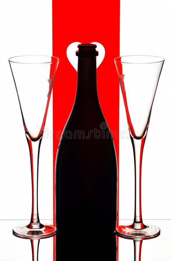 Champagne flutes & bottle royalty free stock photos