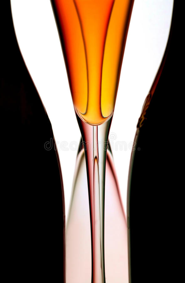 Champagne flutes & bottles stock photography