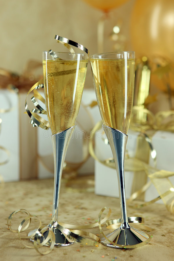 Download Champagne Flutes Leaning Towards One Another Stock Photo - Image: 7627356