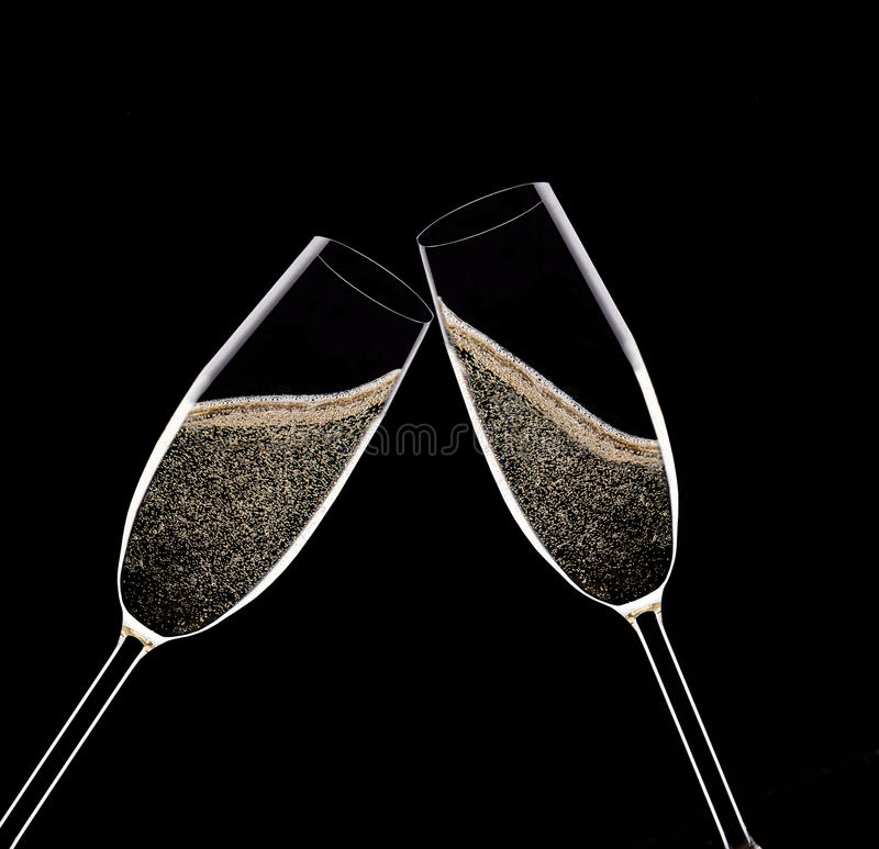 Champagne Flutes sur le fond noir photo libre de droits