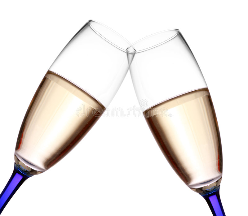 Champagne flutes toast. Isolated over white stock photos