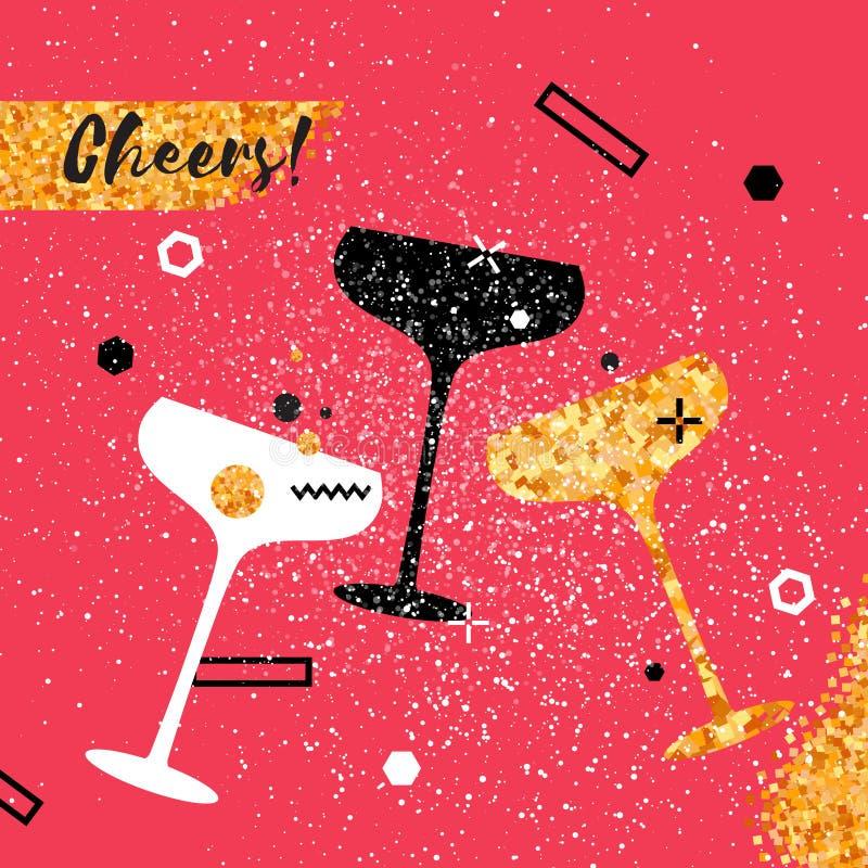 Champagne Flutes Vrolijke vakantie Alcoholische dranken Partijviering stock illustratie
