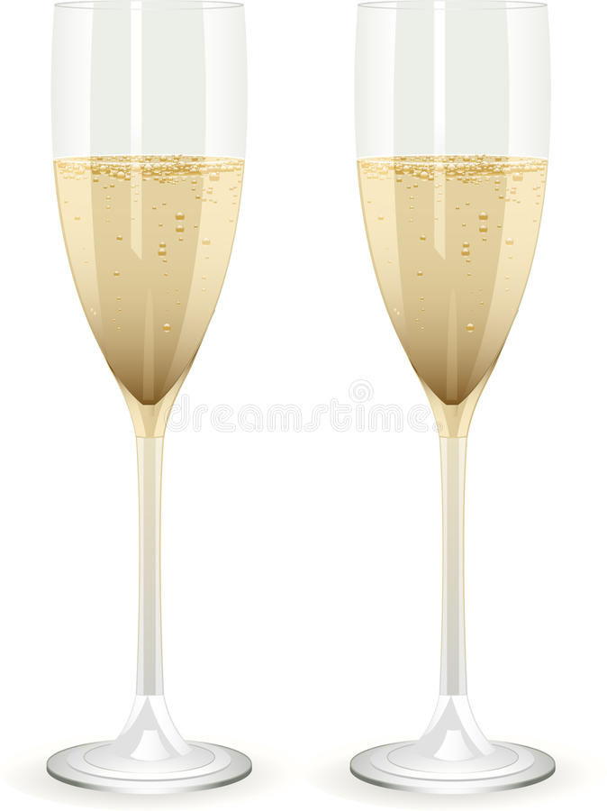 Champagne flutes on a white background stock illustration