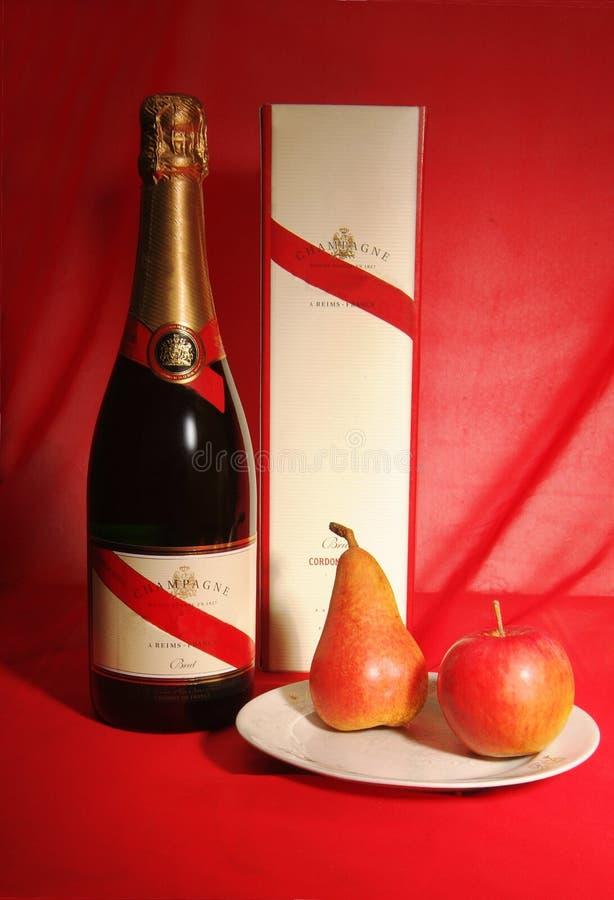 Champagne från Frankrike och frukter royaltyfri foto