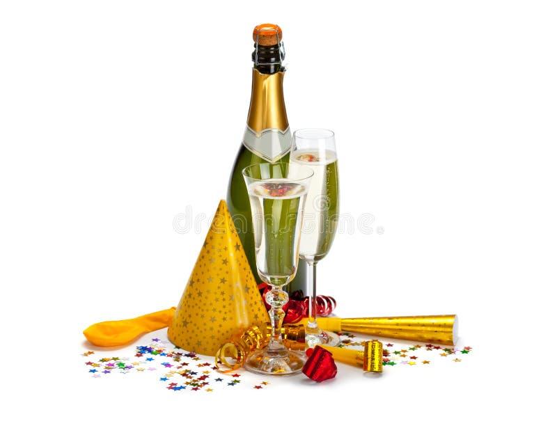 Champagne - frasco e vidro fotografia de stock
