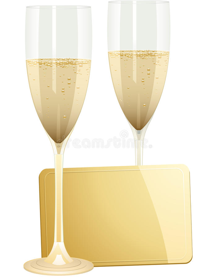 Champagne and gift tag vector illustration