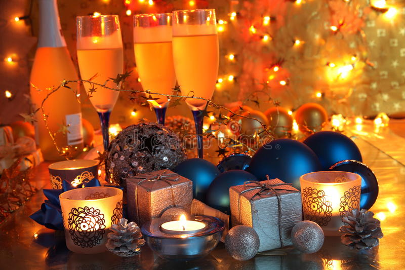 Champagne,gifts and bauble stock photos