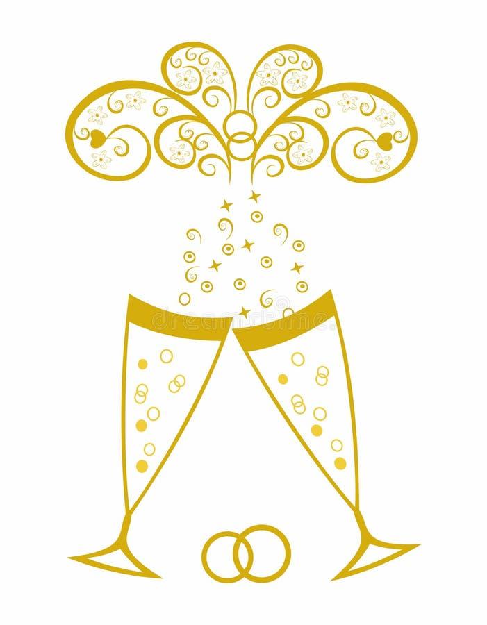 Champagne Gläser Feier Der Goldenen Hochzeit Vektor