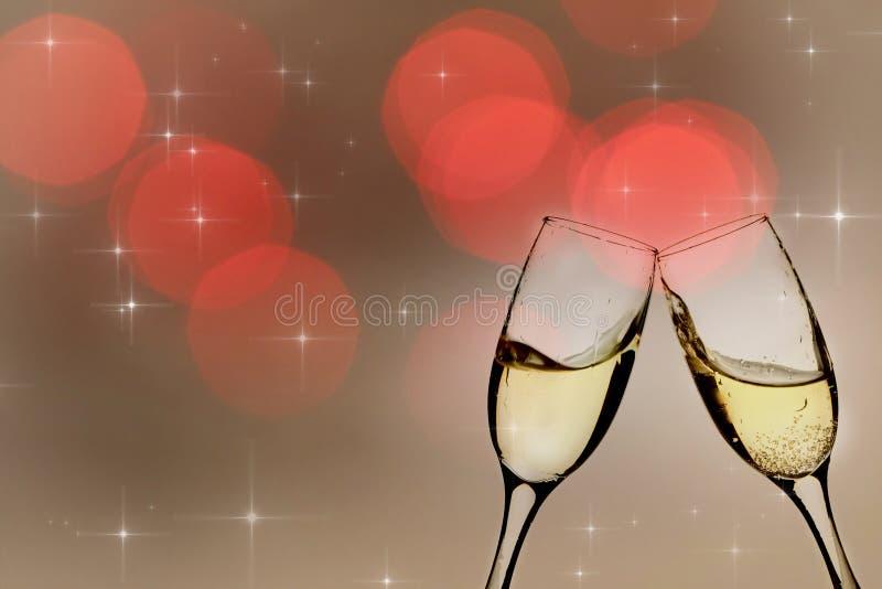 Download Champagne-Gläser Gegen Lichterkette Stockbild - Bild von zwölf, partei: 47100051