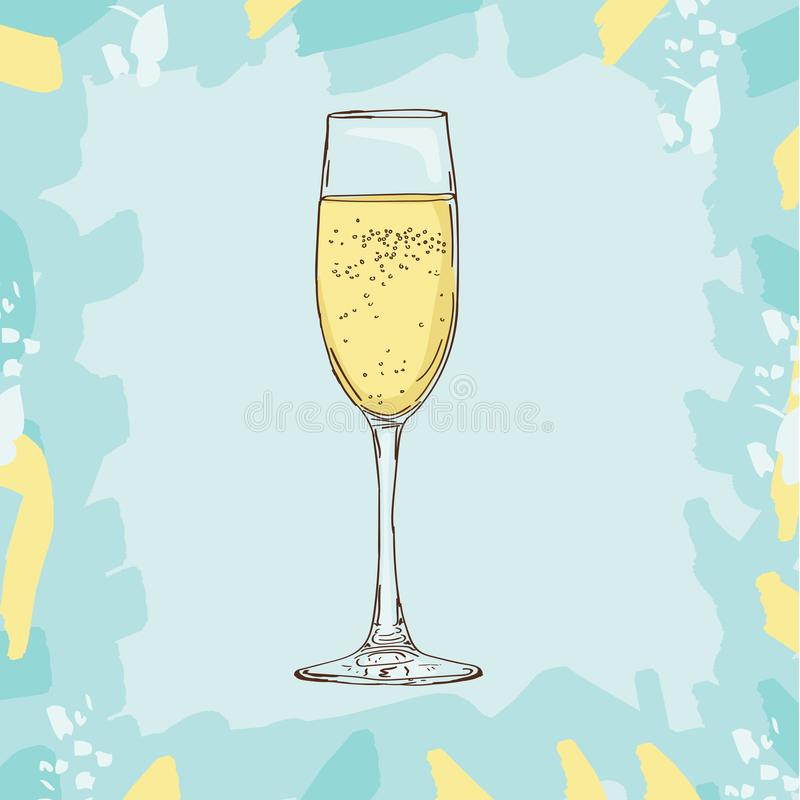 Champagne-glas, de vectordieillustratie van de schetsstijl op kleurenachtergrond wordt geïsoleerd stock illustratie