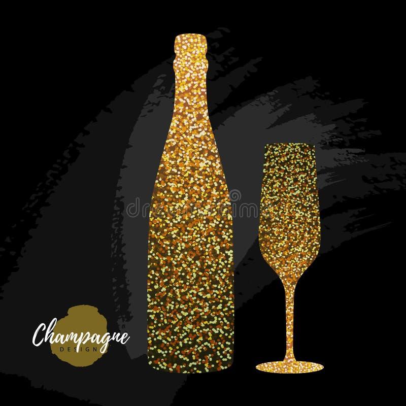 Champagne-glas en flessen vectorpictogram Het gouden glas van de fonkelingschampagne op zwarte achtergrond royalty-vrije illustratie