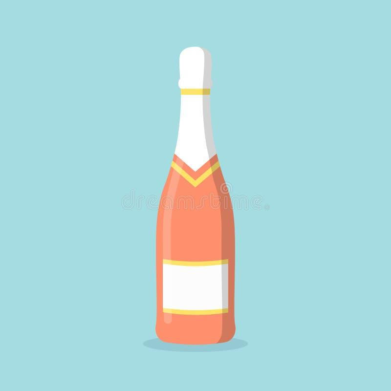 Champagne-glasfles die op achtergrond wordt geïsoleerd Wijnpictogram Vakantie, partijelementen Alcoholdrank Vector vlakke illustr vector illustratie