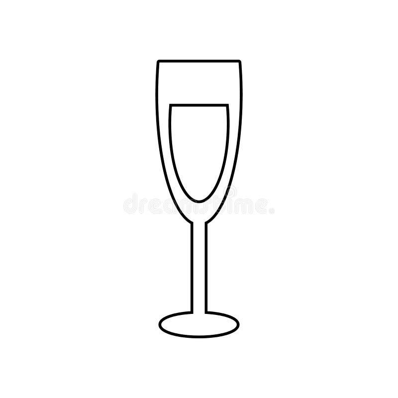 Champagne-glaspictogram Element van het eten voor mobiel concept en webtoepassingenpictogram Overzicht, dun lijnpictogram voor we stock illustratie