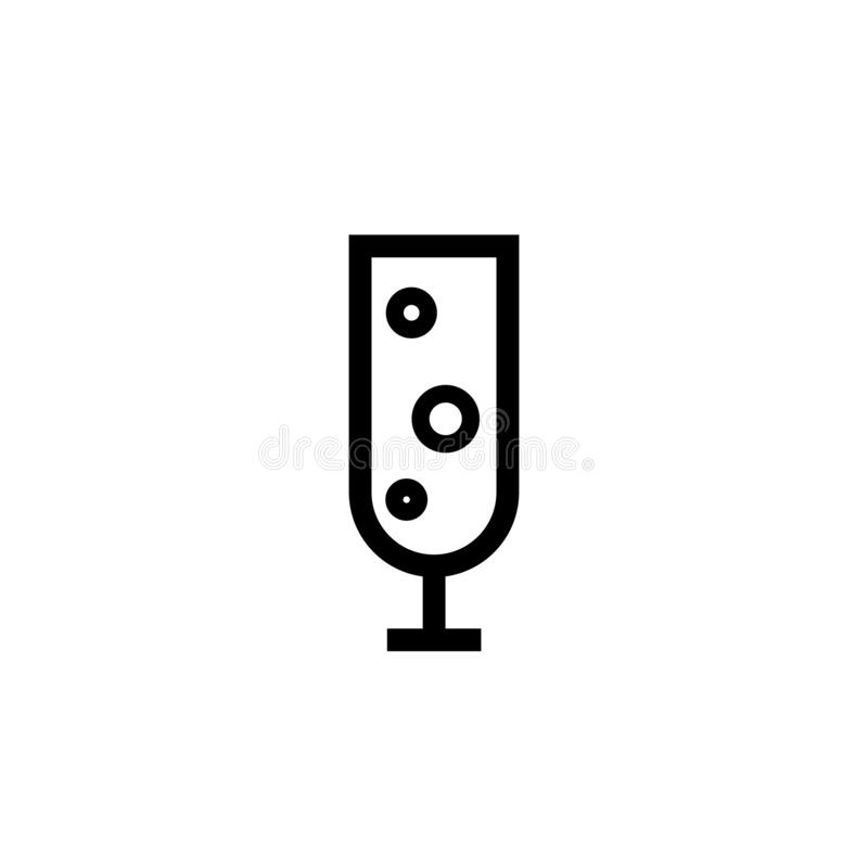 Champagne-glaspictogram Vlak drinkbekerpictogram E vector illustratie
