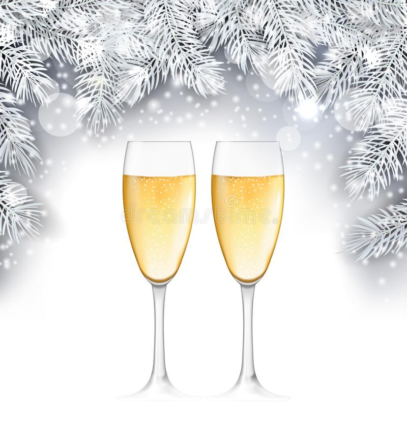 Champagne Glass, fondo de la Navidad con las ramitas de plata stock de ilustración