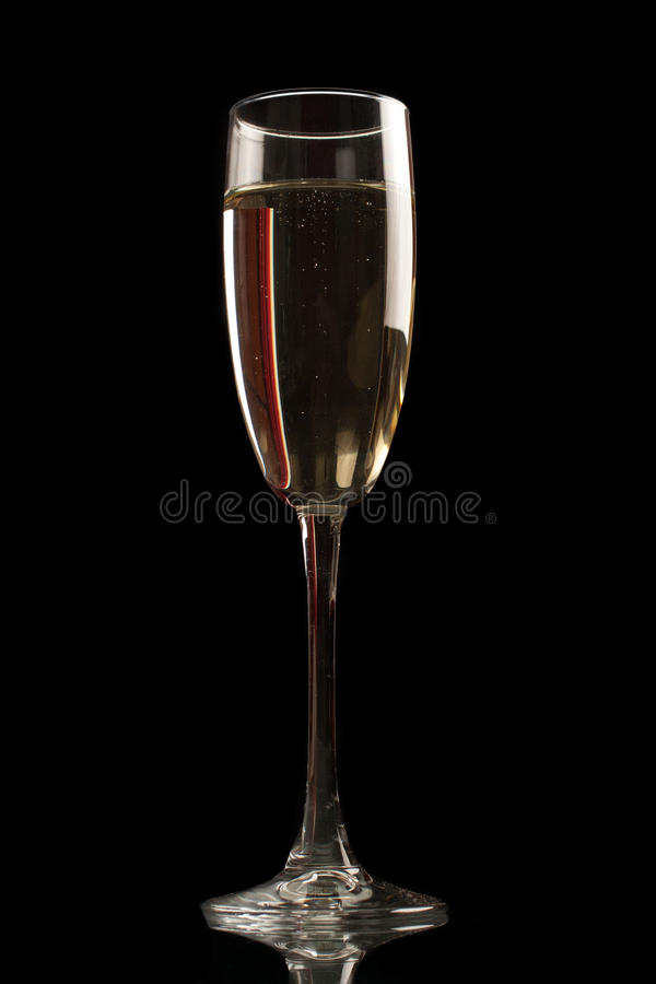 Champagne glass isolated on black