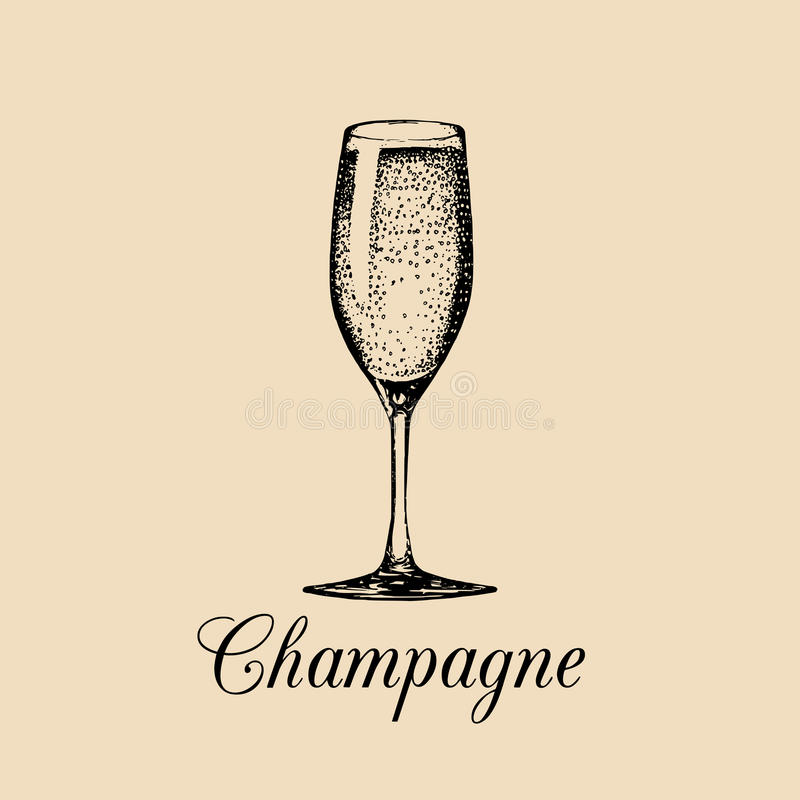 Champagne glass isolated. Vector hand drawn sketch of spumante. Alcoholic drink logo. A white sparkling wine sign. vector illustration