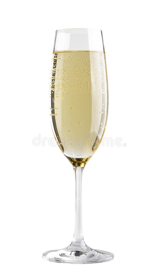 Champagne in a glass. Isolated on white background stock images