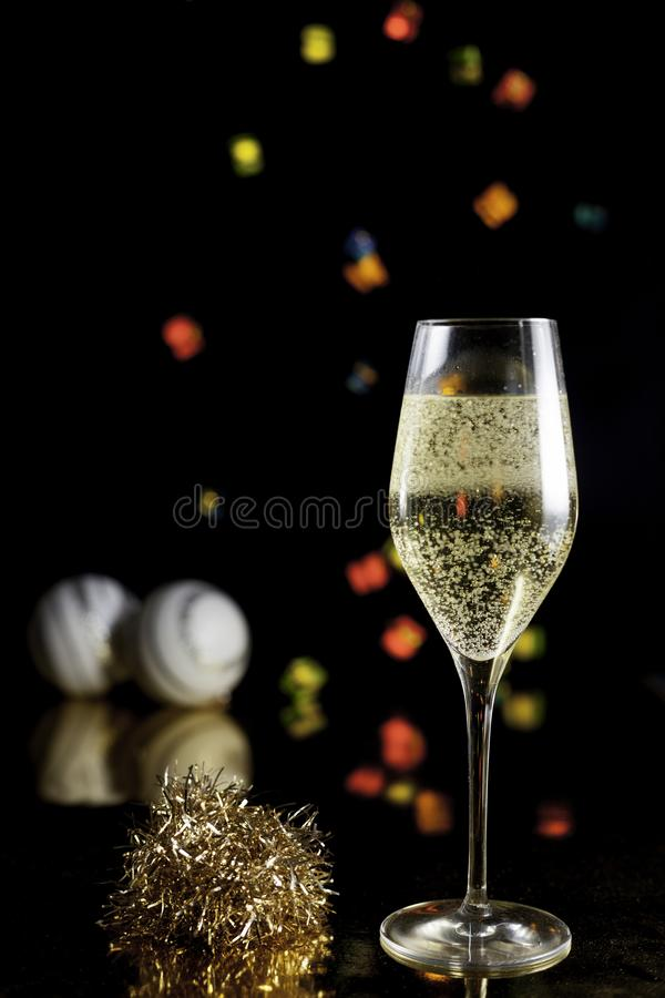 Champagne glass and lights royalty free stock photography