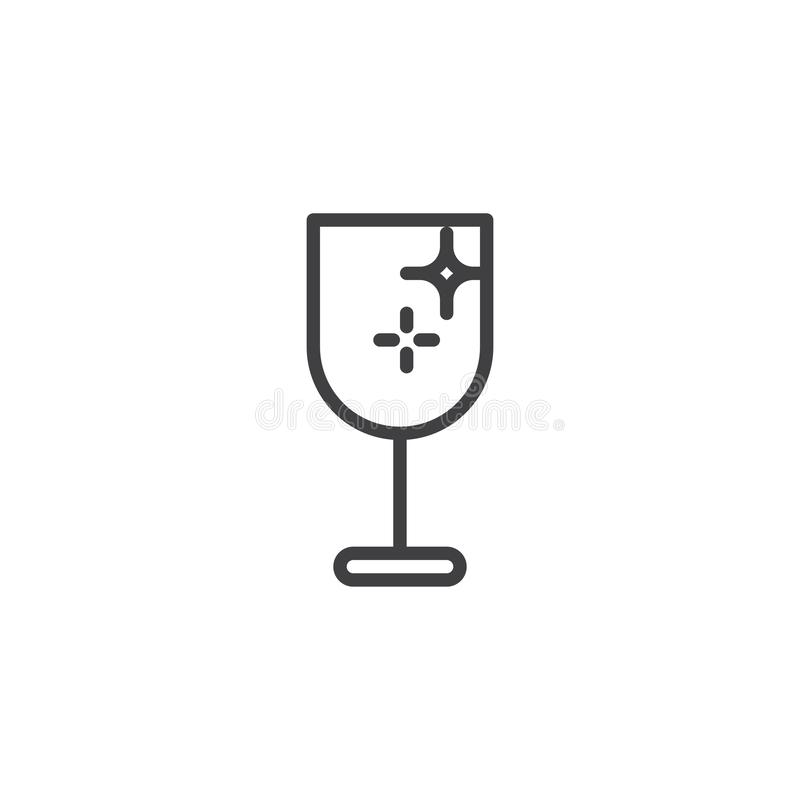 Champagne glass outline icon stock illustration