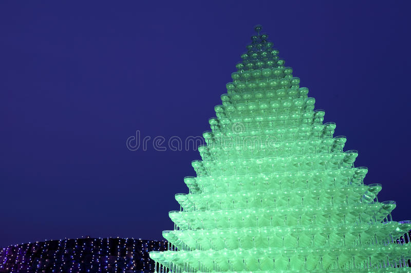 Champagne Glass Pyramid Royalty Free Stock Images