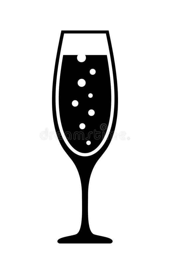 Champagne glass vector icon. Isolated on white background stock illustration