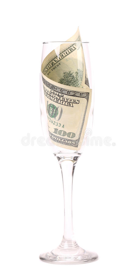 Free Champagne Glass With Money. Royalty Free Stock Image - 36861016