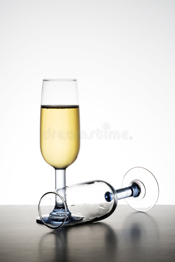 Champagne Glasses. On a graduated background stock photo