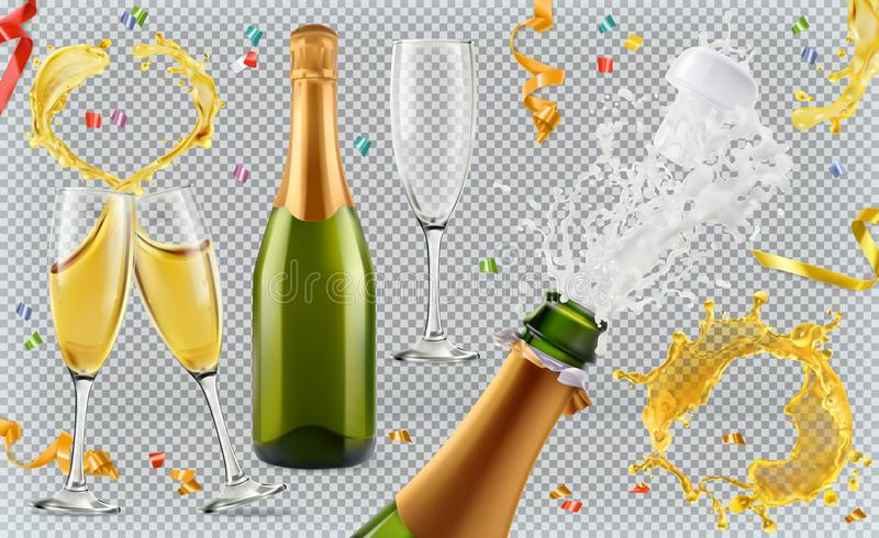 Champagne. Glasses, bottle, splash. 3d icon set royalty free illustration