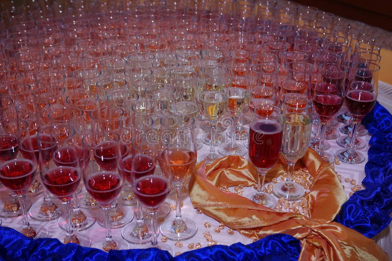 Champagne glasses. Close up of several champagne glasses on wedding royalty free stock photos