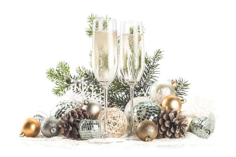 Champagne Glasses com Natal/ano novo imagens de stock royalty free