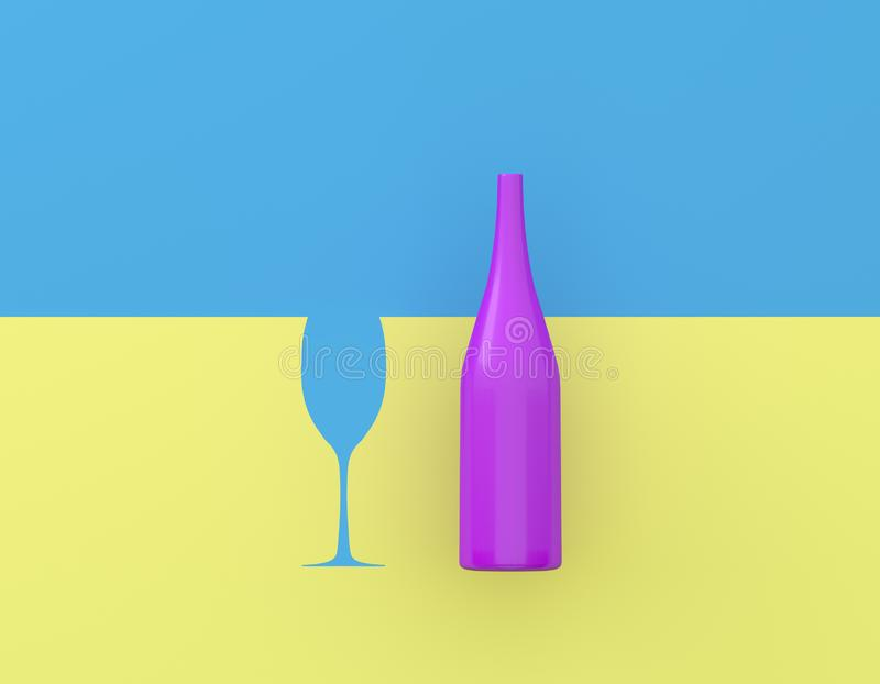 Champagne with glasses contrast on blue and yellow pastel background. Party minimal concept. Champagne with glasses contrast on blue and yellow pastel royalty free illustration